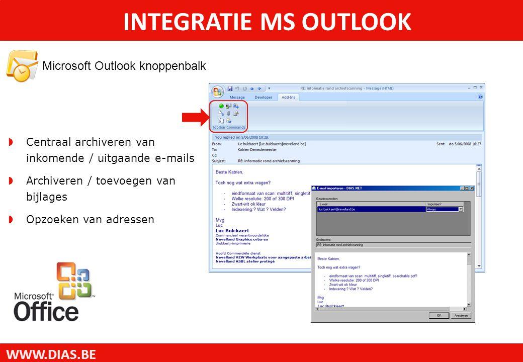 WWW.DIAS.BE Microsoft Outlook knoppenbalk INTEGRATIE MS OUTLOOK  Centraal archiveren van inkomende / uitgaande e-mails  Archiveren / toevoegen van b