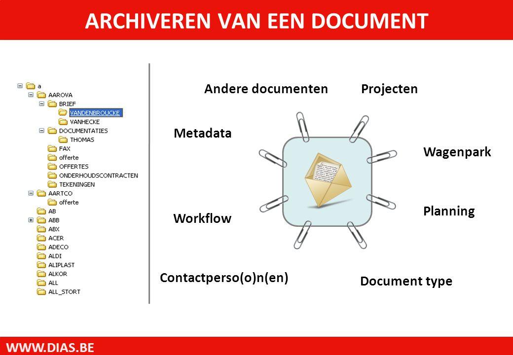 WWW.DIAS.BE Andere documentenProjecten Contactperso(o)n(en) Wagenpark Document type Metadata Planning Workflow ARCHIVEREN VAN EEN DOCUMENT