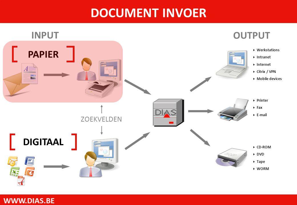 WWW.DIAS.BE Aandachtspunten:  Keuze van het scantoestel  Barcodeherkenning  OCR Optical Character Recogniton  VRS Virtual Rescan Software INVOER PAPIEREN DOCUMENTEN