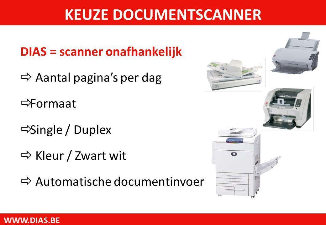 WWW.DIAS.BE DIAS = scanner onafhankelijk  Aantal pagina's per dag  Formaat  Single / Duplex  Kleur / Zwart wit  Automatische documentinvoer KEUZE