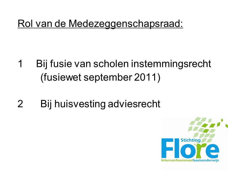 Rol van de Medezeggenschapsraad: 1 Bij fusie van scholen instemmingsrecht (fusiewet september 2011) 2Bij huisvesting adviesrecht