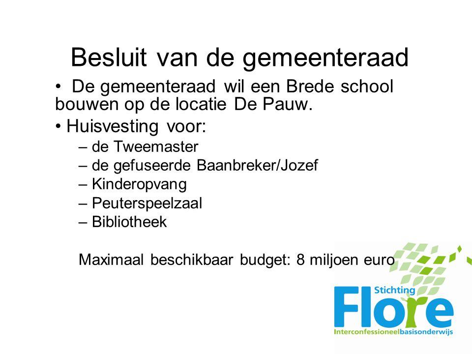 Besluit van de gemeenteraad De gemeenteraad wil een Brede school bouwen op de locatie De Pauw.