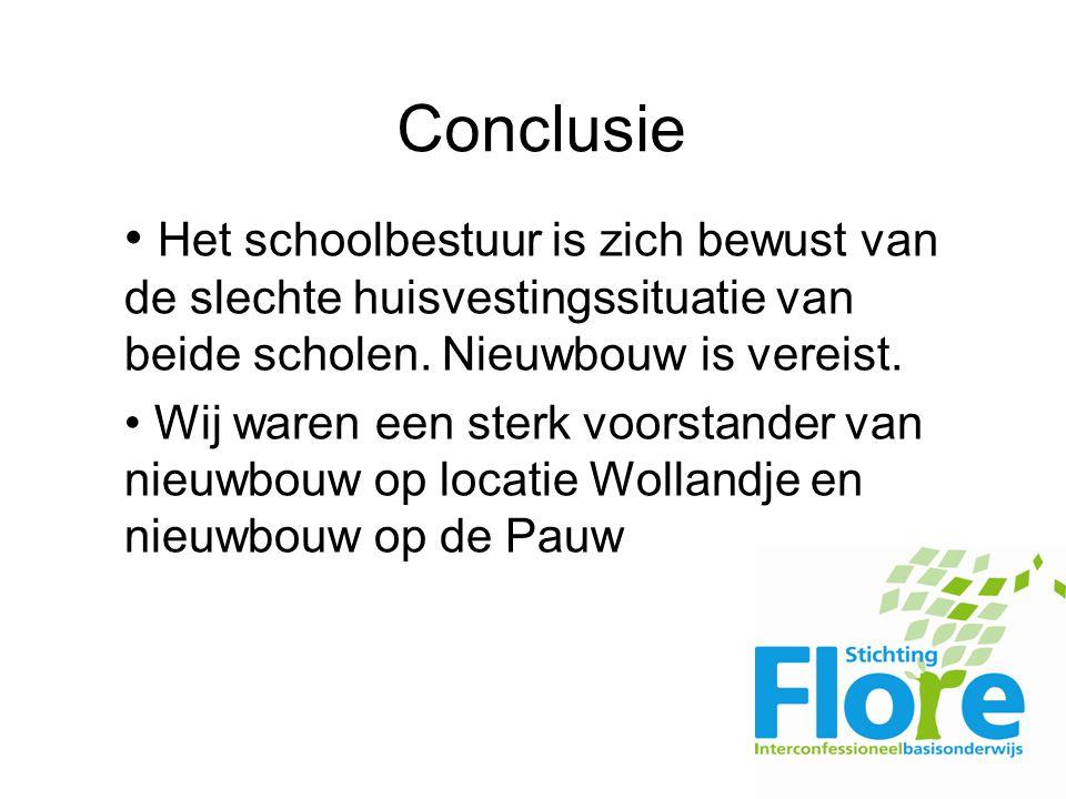 Conclusie Het schoolbestuur is zich bewust van de slechte huisvestingssituatie van beide scholen.