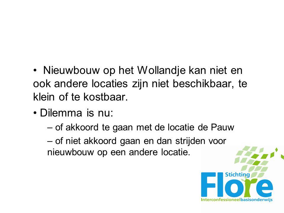 Nieuwbouw op het Wollandje kan niet en ook andere locaties zijn niet beschikbaar, te klein of te kostbaar.