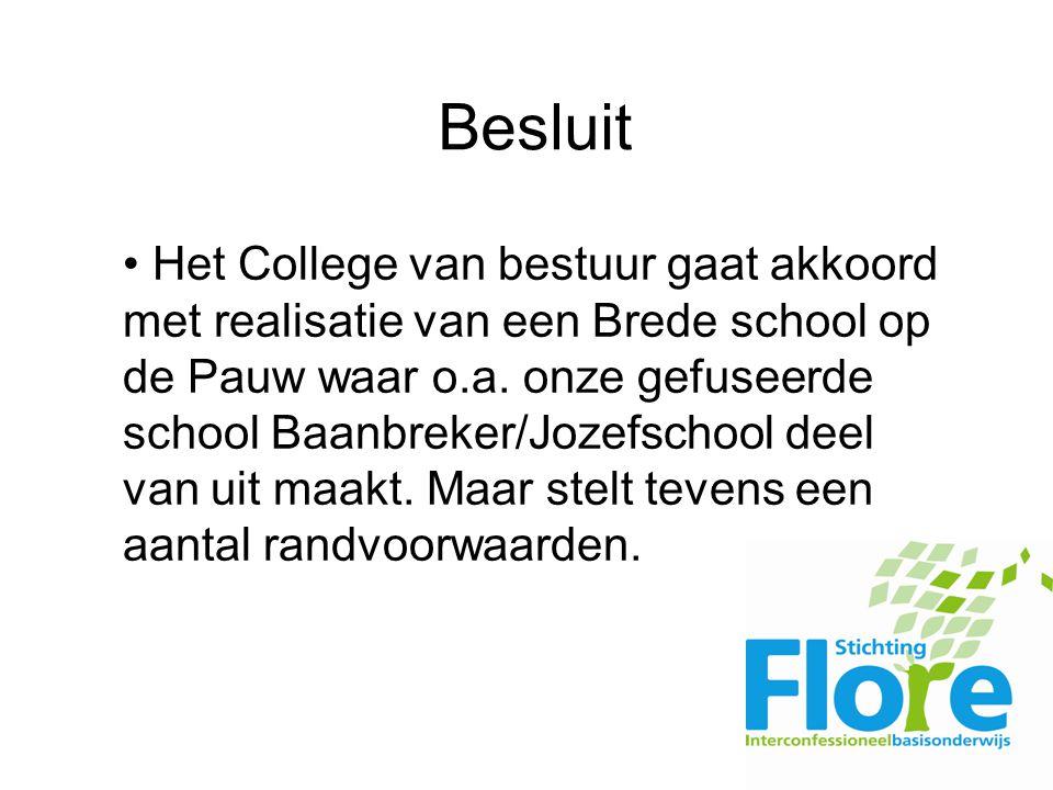 Besluit Het College van bestuur gaat akkoord met realisatie van een Brede school op de Pauw waar o.a.