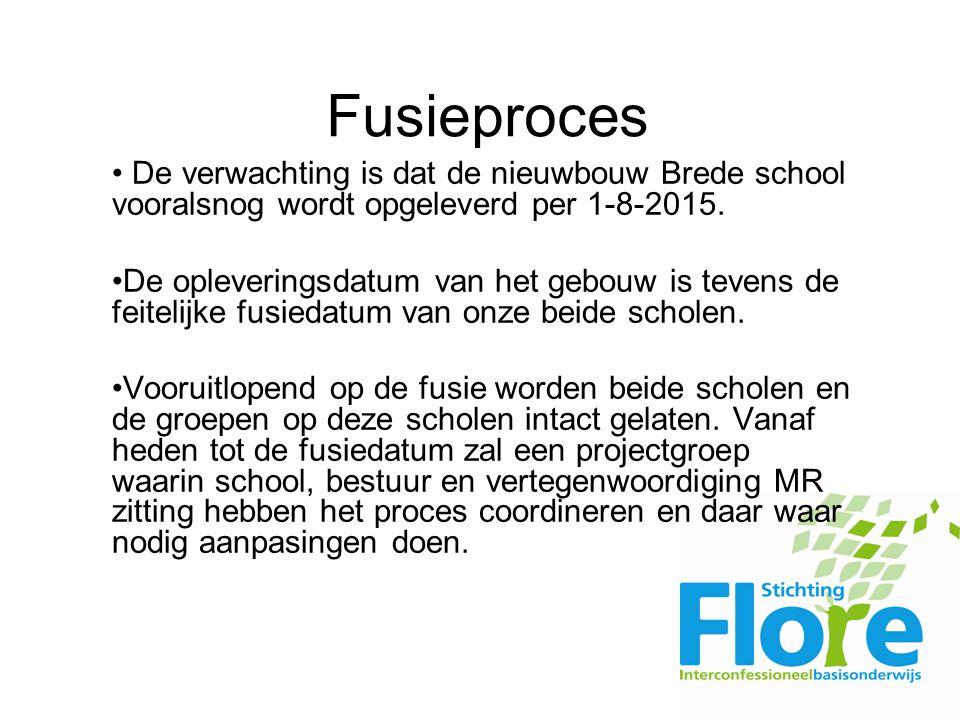Fusieproces De verwachting is dat de nieuwbouw Brede school vooralsnog wordt opgeleverd per 1-8-2015.