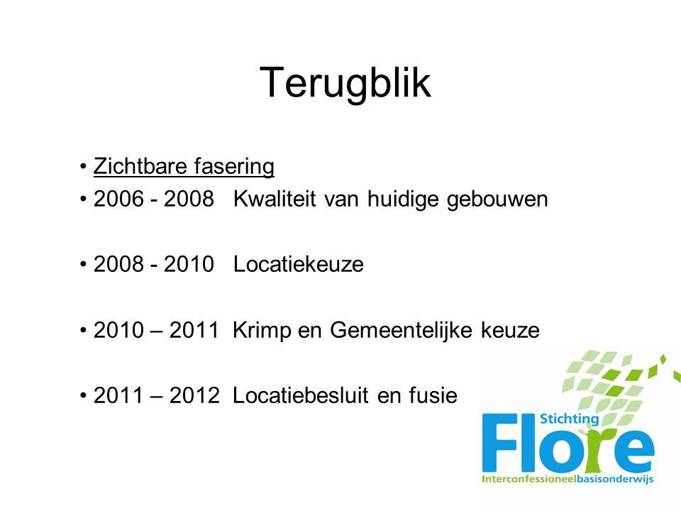 Terugblik Zichtbare fasering 2006 - 2008 Kwaliteit van huidige gebouwen 2008 - 2010 Locatiekeuze 2010 – 2011 Krimp en Gemeentelijke keuze 2011 – 2012 Locatiebesluit en fusie