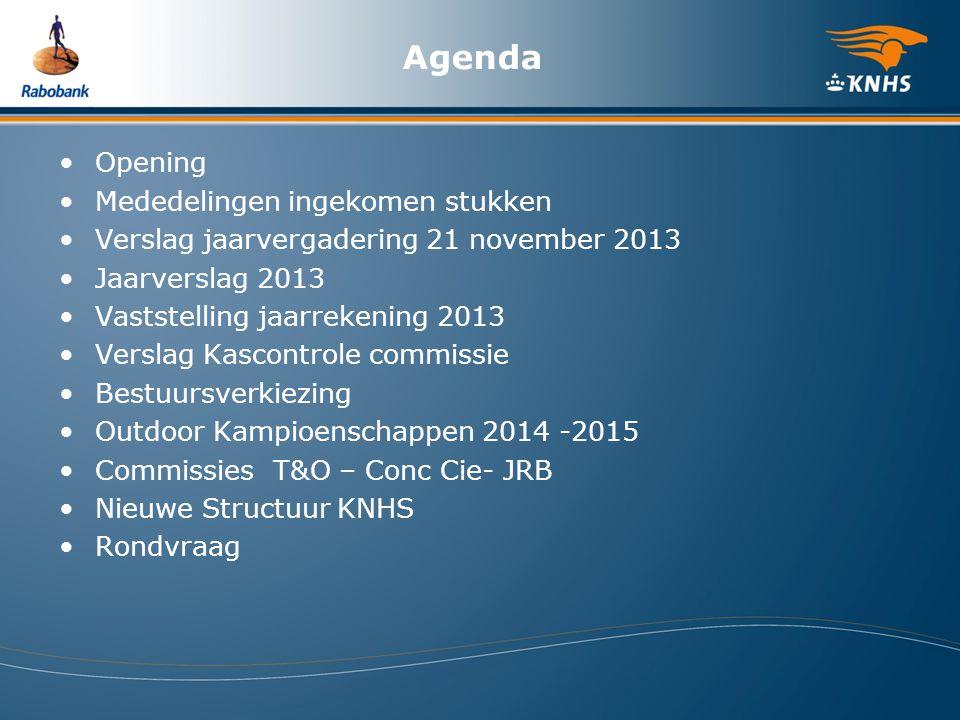Agenda Opening Mededelingen ingekomen stukken Verslag jaarvergadering 21 november 2013 Jaarverslag 2013 Vaststelling jaarrekening 2013 Verslag Kascont