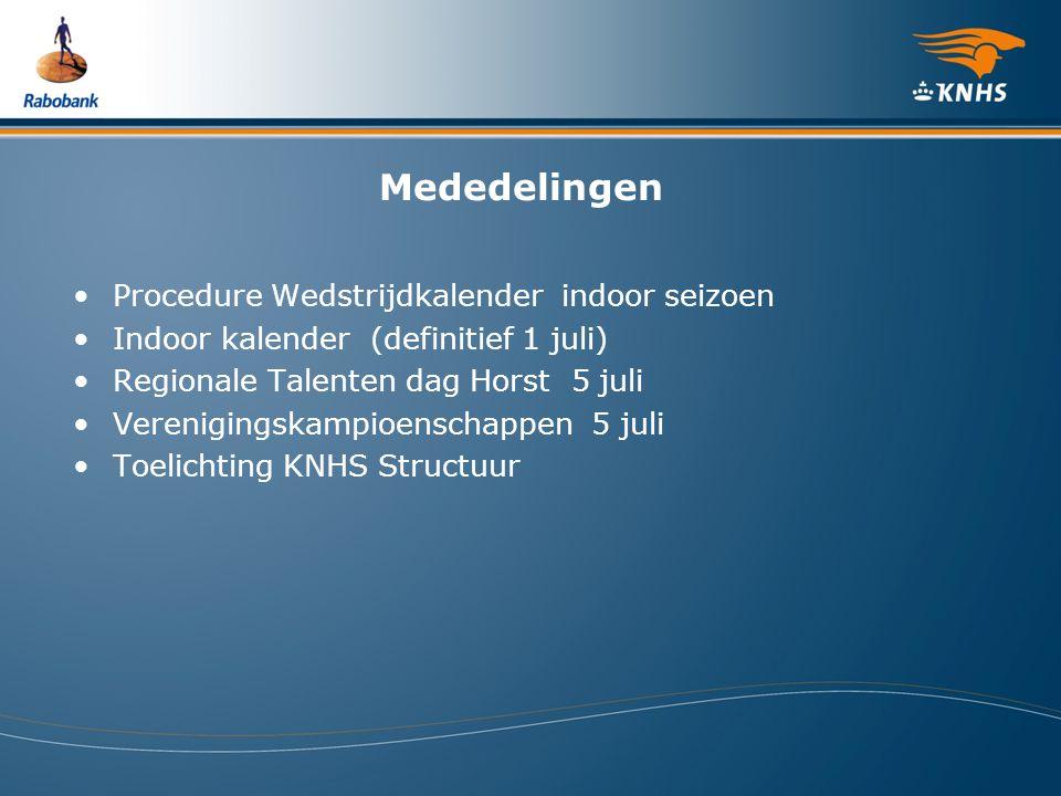 Mededelingen Procedure Wedstrijdkalender indoor seizoen Indoor kalender (definitief 1 juli) Regionale Talenten dag Horst 5 juli Verenigingskampioensch