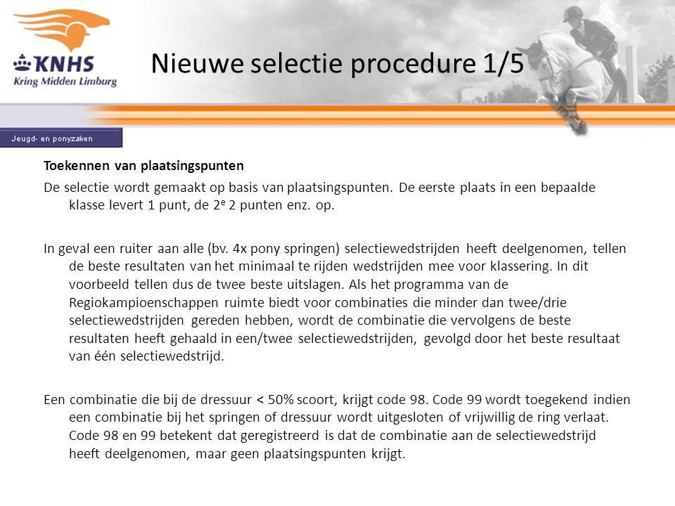 Nieuwe selectie procedure 1/5 Toekennen van plaatsingspunten De selectie wordt gemaakt op basis van plaatsingspunten.