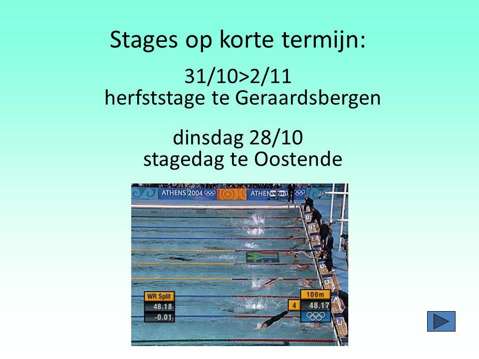 Zwemstages - héél veel invloed op de zwemtechniek - theorie lesjes - groepssfeer - altijd voldoende begeleiding - zéér verzorgde & gezonde keuken Doel = prestatieniveau van de atleten/zwemmers verhogen