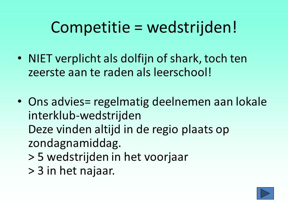 Competitie= Zwemmen van wedstrijden Op niveau zwemmen en trainen Deelname aan stages Gezonde levenswijze Volledige ondersteuning vanuit de thuissituatie