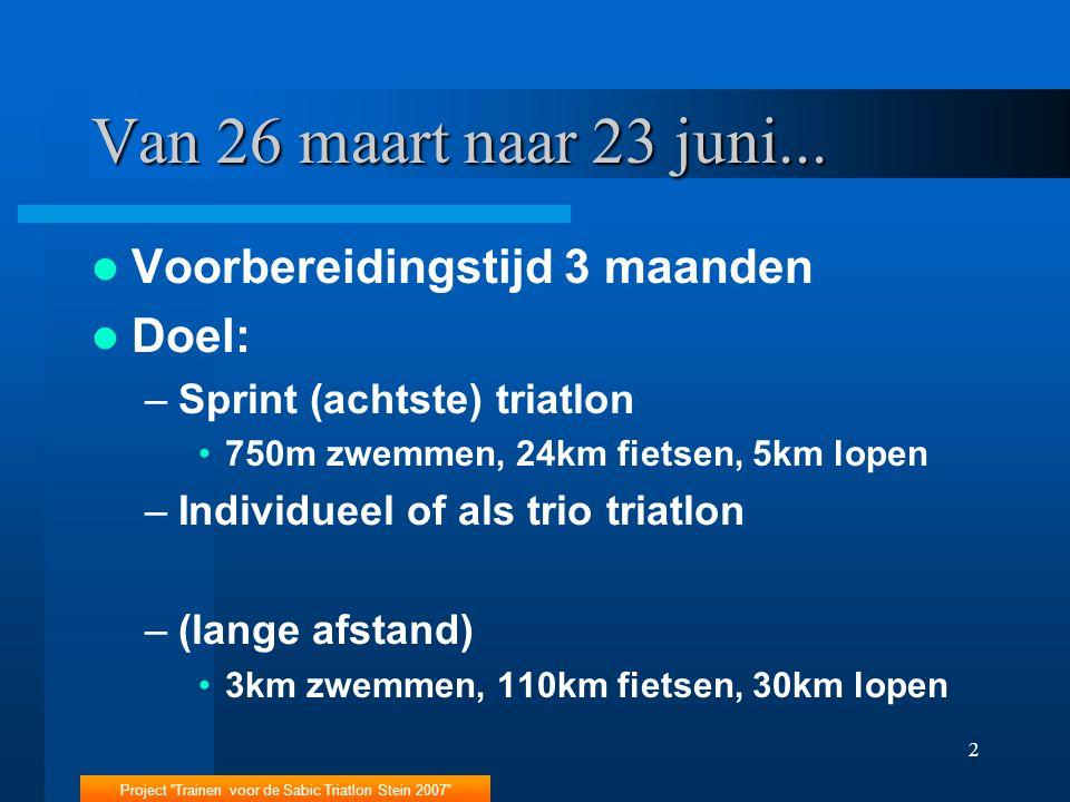 """Project """"Trainen voor de Sabic Triatlon Stein 2007"""" 2 Van 26 maart naar 23 juni... Voorbereidingstijd 3 maanden Doel: –Sprint (achtste) triatlon 750m"""
