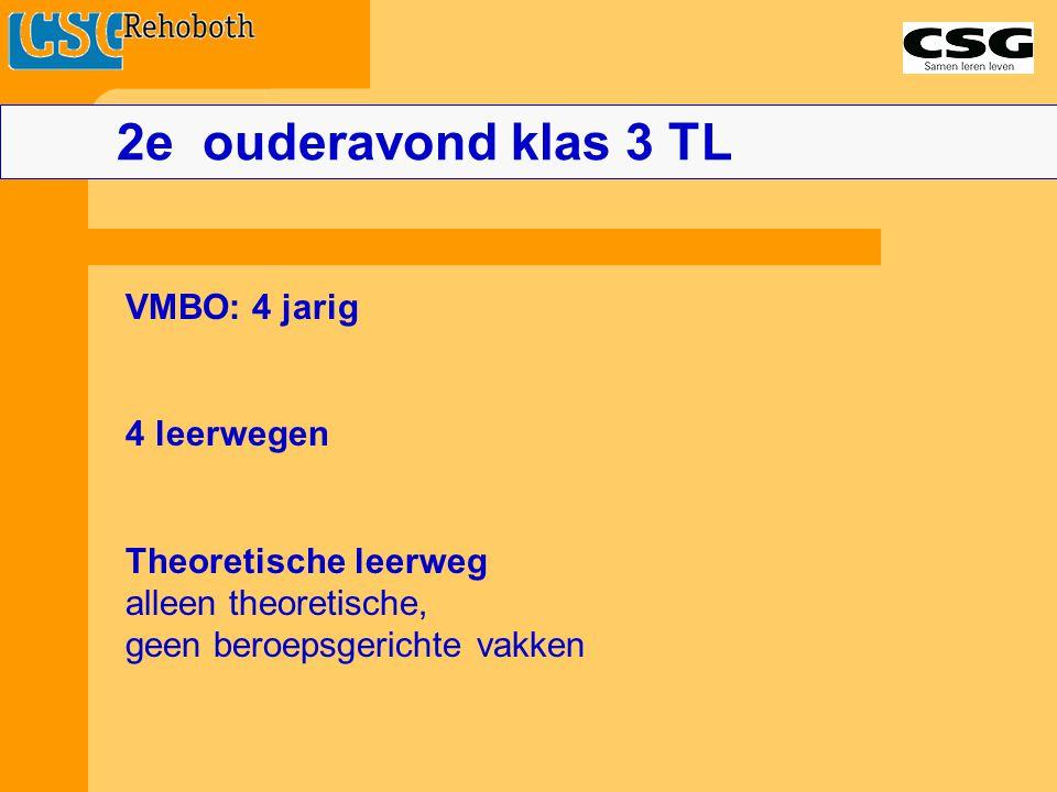 VMBO: 4 jarig 4 leerwegen Theoretische leerweg alleen theoretische, geen beroepsgerichte vakken 2e ouderavond klas 3 TL