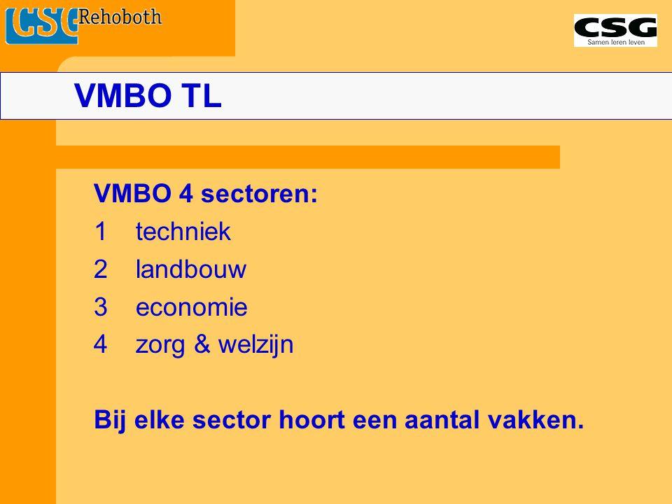 VMBO 4 sectoren: 1techniek 2 landbouw 3economie 4zorg & welzijn Bij elke sector hoort een aantal vakken. VMBO TL