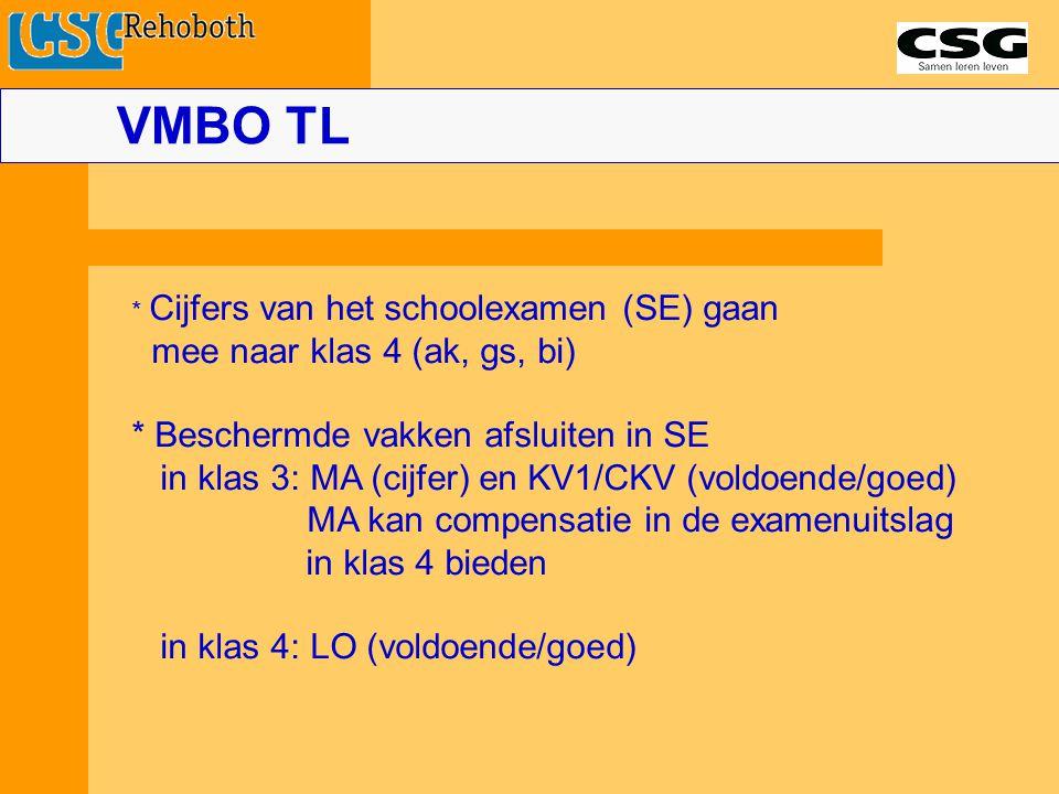 VMBO TL * Cijfers van het schoolexamen (SE) gaan mee naar klas 4 (ak, gs, bi) * Beschermde vakken afsluiten in SE in klas 3: MA (cijfer) en KV1/CKV (voldoende/goed) MA kan compensatie in de examenuitslag in klas 4 bieden in klas 4: LO (voldoende/goed)