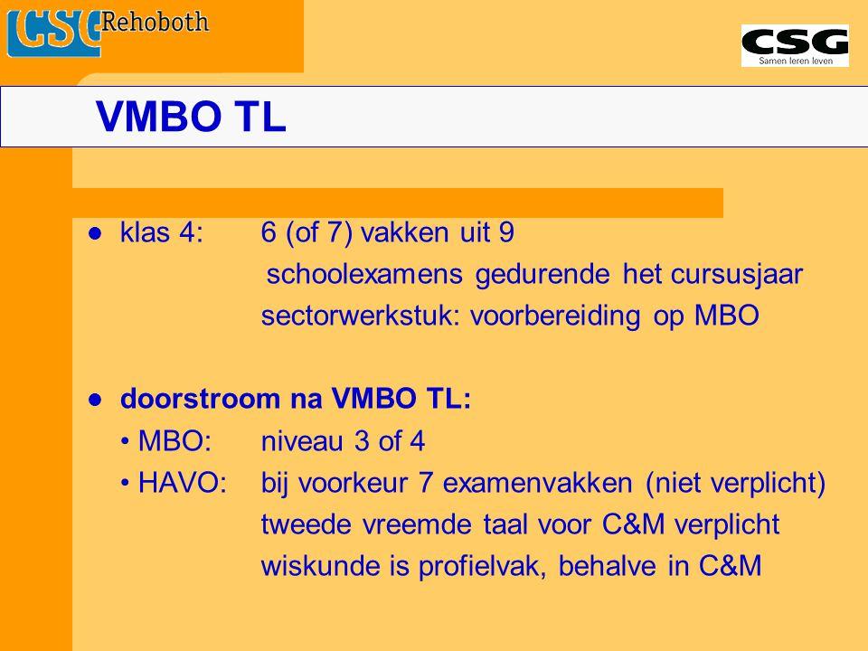 klas 4:6 (of 7) vakken uit 9 schoolexamens gedurende het cursusjaar sectorwerkstuk: voorbereiding op MBO doorstroom na VMBO TL: MBO:niveau 3 of 4 HAVO:bij voorkeur 7 examenvakken (niet verplicht) tweede vreemde taal voor C&M verplicht wiskunde is profielvak, behalve in C&M VMBO TL