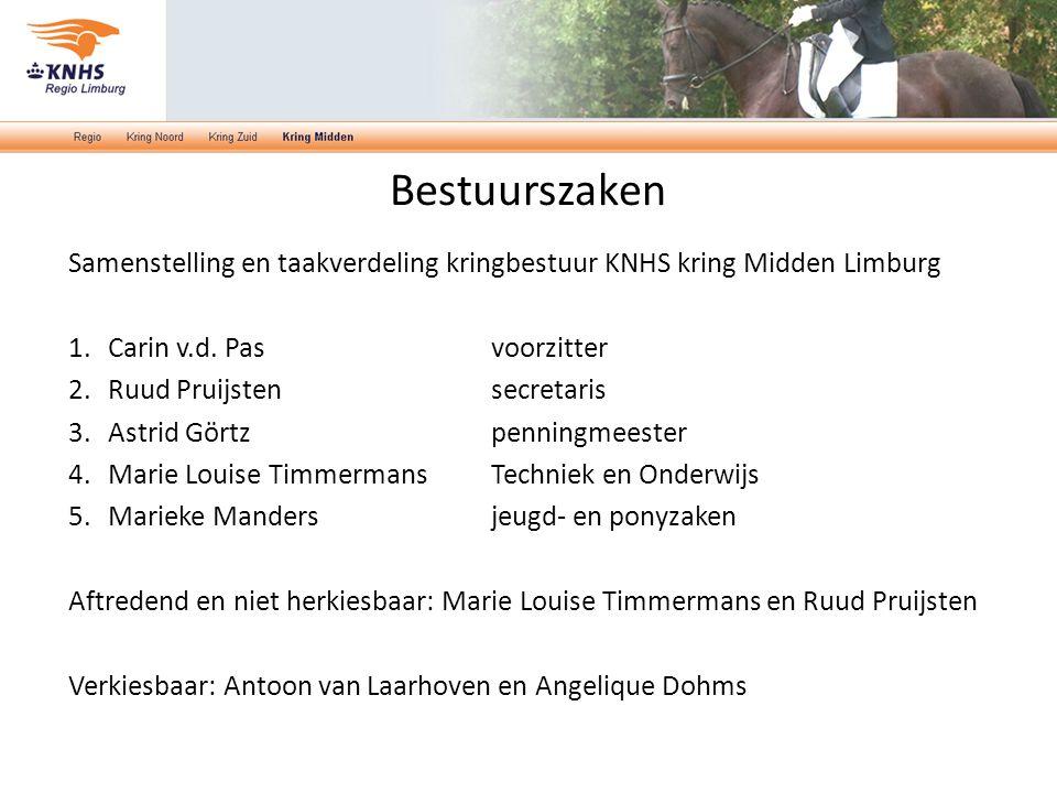 Bestuurszaken Samenstelling en taakverdeling kringbestuur KNHS kring Midden Limburg 1.Carin v.d.