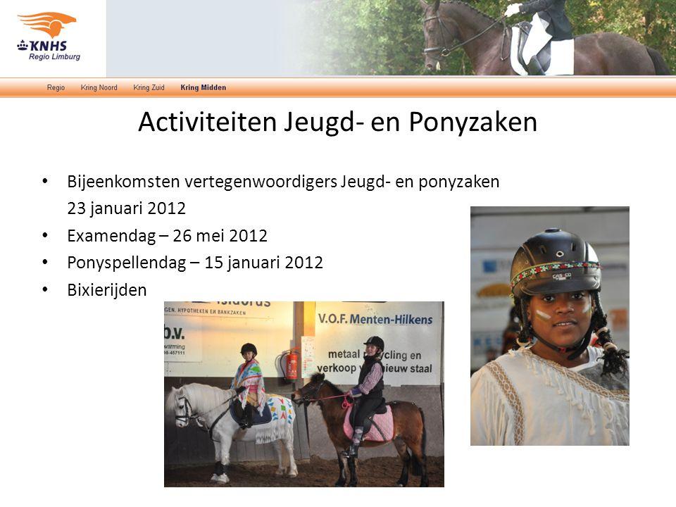 Bijeenkomsten vertegenwoordigers Jeugd- en ponyzaken 23 januari 2012 Examendag – 26 mei 2012 Ponyspellendag – 15 januari 2012 Bixierijden Activiteiten Jeugd- en Ponyzaken