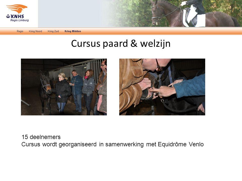 Cursus paard & welzijn 15 deelnemers Cursus wordt georganiseerd in samenwerking met Equidrôme Venlo