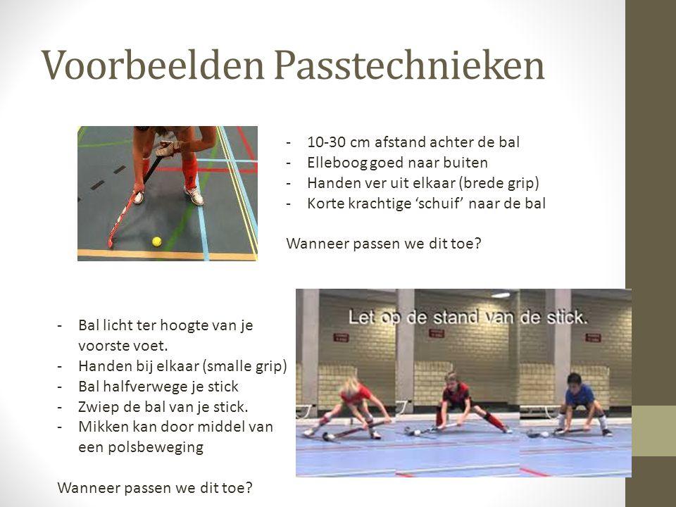 Voorbeelden Passtechnieken -10-30 cm afstand achter de bal -Elleboog goed naar buiten -Handen ver uit elkaar (brede grip) -Korte krachtige 'schuif' naar de bal Wanneer passen we dit toe.