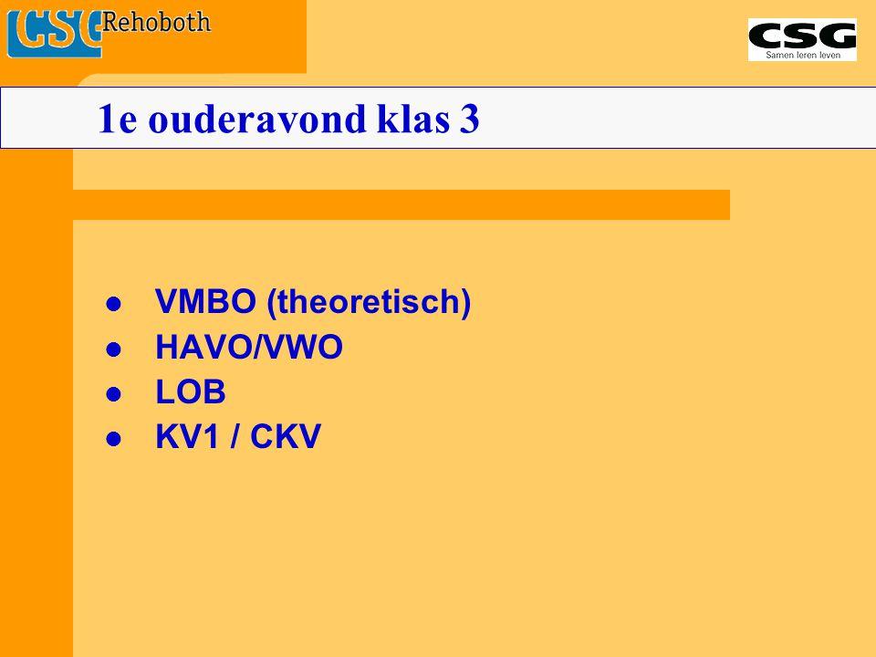 VMBO (theoretisch) HAVO/VWO LOB KV1 / CKV 1e ouderavond klas 3