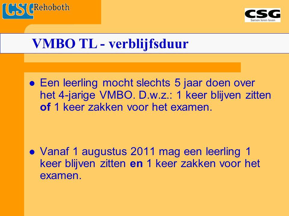 Een leerling mocht slechts 5 jaar doen over het 4-jarige VMBO. D.w.z.: 1 keer blijven zitten of 1 keer zakken voor het examen. Vanaf 1 augustus 2011 m