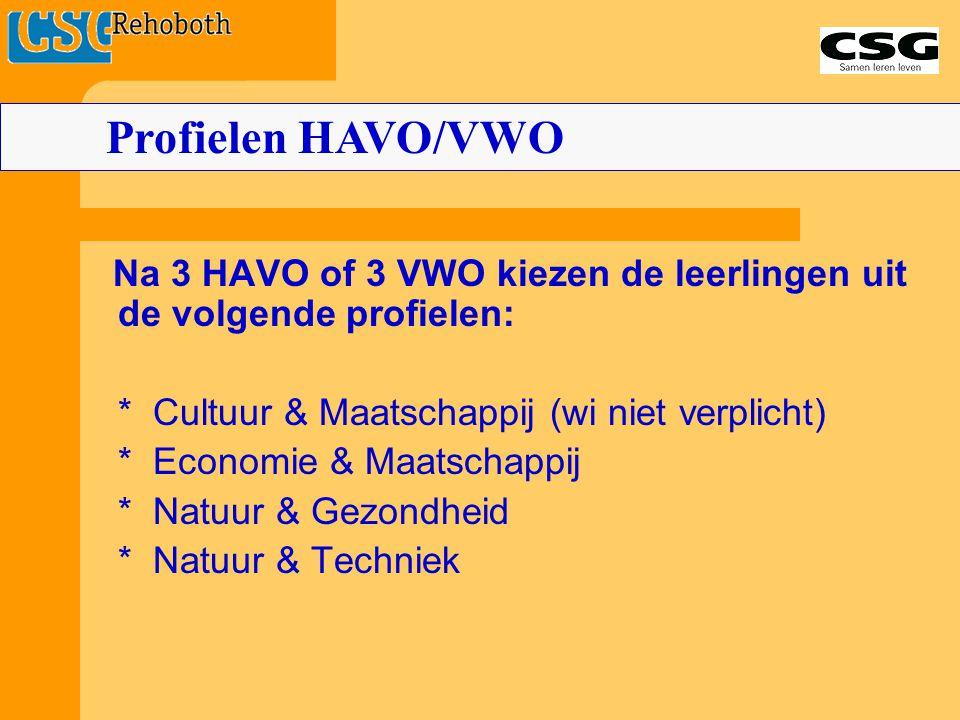 Na 3 HAVO of 3 VWO kiezen de leerlingen uit de volgende profielen: * Cultuur & Maatschappij (wi niet verplicht) * Economie & Maatschappij * Natuur & G