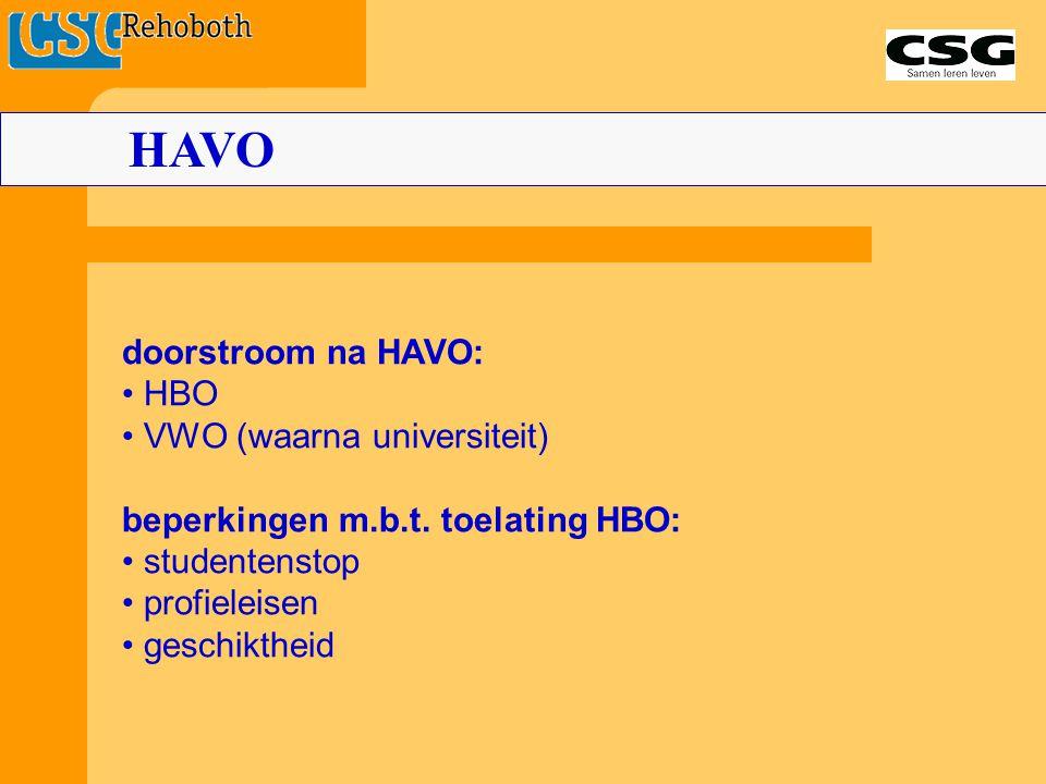 HAVO doorstroom na HAVO: HBO VWO (waarna universiteit) beperkingen m.b.t. toelating HBO: studentenstop profieleisen geschiktheid