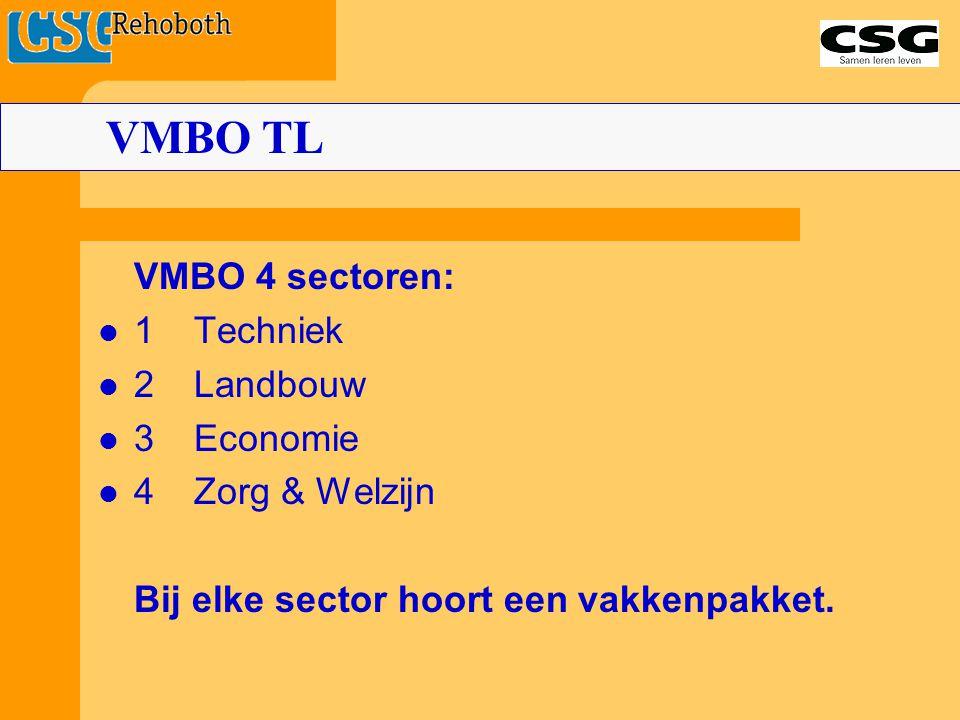 VMBO 4 sectoren: 1Techniek 2 Landbouw 3Economie 4Zorg & Welzijn Bij elke sector hoort een vakkenpakket. VMBO TL