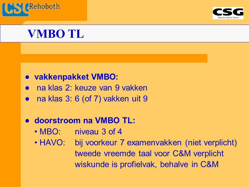 vakkenpakket VMBO: na klas 2:keuze van 9 vakken na klas 3:6 (of 7) vakken uit 9 doorstroom na VMBO TL: MBO:niveau 3 of 4 HAVO:bij voorkeur 7 examenvak