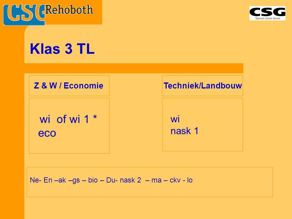 Klas 3 TL Ne- En –ak –gs – bio – Du- nask 2 – ma – ckv - lo wi of wi 1 * eco wi nask 1 Z & W / Economie Techniek/Landbouw