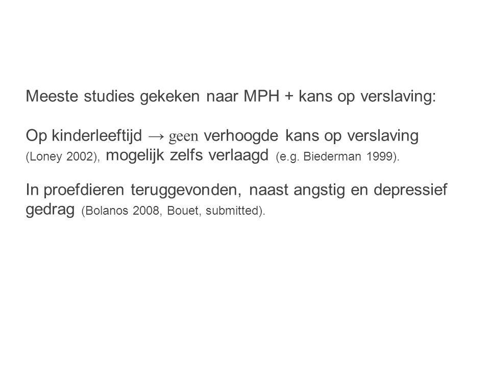Meeste studies gekeken naar MPH + kans op verslaving: Op kinderleeftijd → geen verhoogde kans op verslaving (Loney 2002), mogelijk zelfs verlaagd (e.g.