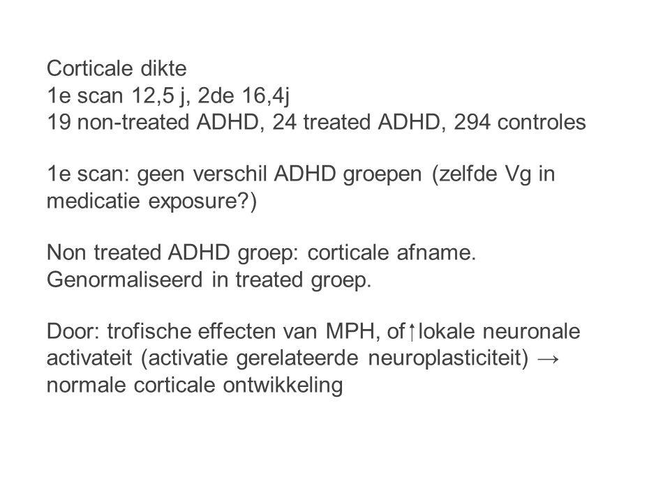 Corticale dikte 1e scan 12,5 j, 2de 16,4j 19 non-treated ADHD, 24 treated ADHD, 294 controles 1e scan: geen verschil ADHD groepen (zelfde Vg in medicatie exposure?) Non treated ADHD groep: corticale afname.