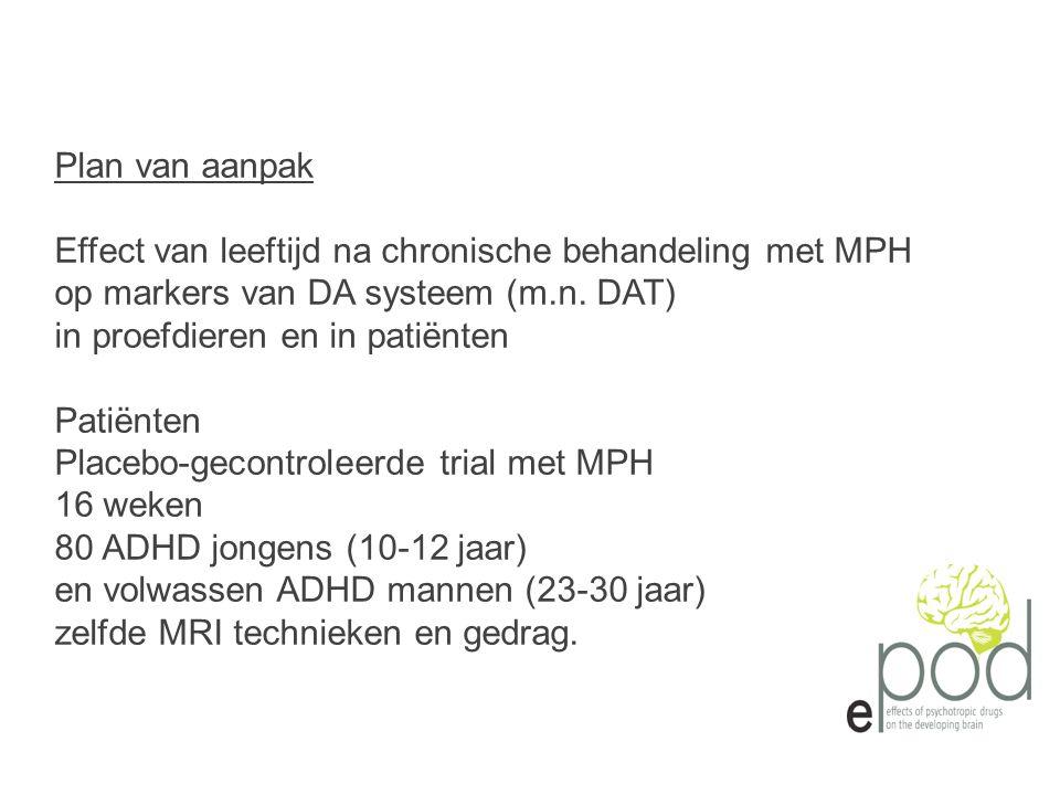 Plan van aanpak Effect van leeftijd na chronische behandeling met MPH op markers van DA systeem (m.n.