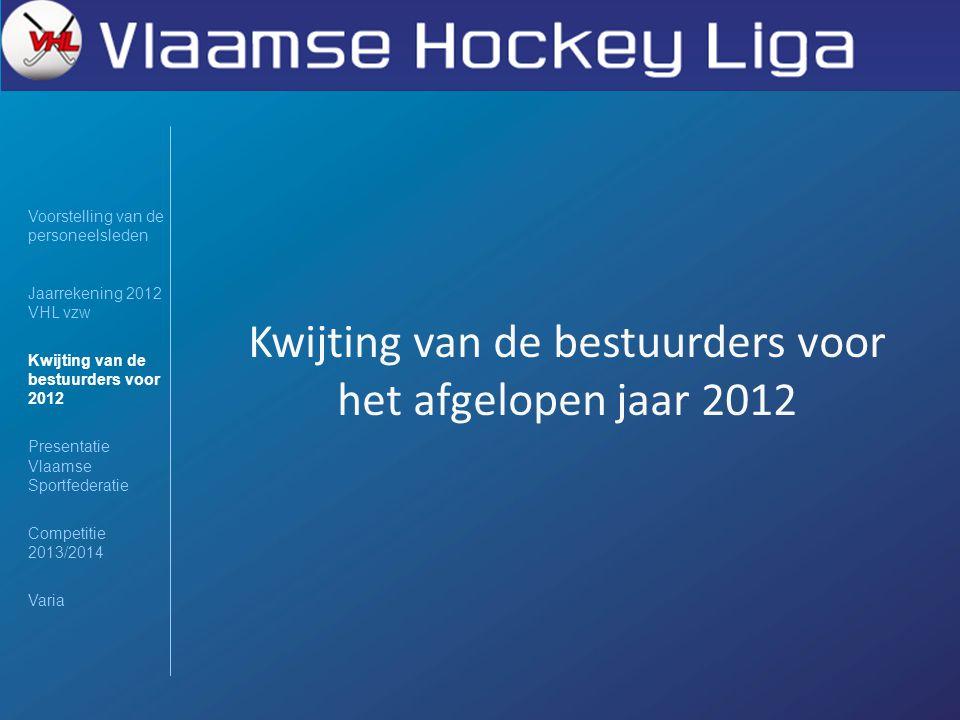 Voorstelling van de personeelsleden Jaarrekening 2012 VHL vzw Kwijting van de bestuurders voor 2012 Presentatie Vlaamse Sportfederatie Competitie 2013/2014 Varia Kwijting van de bestuurders voor het afgelopen jaar 2012