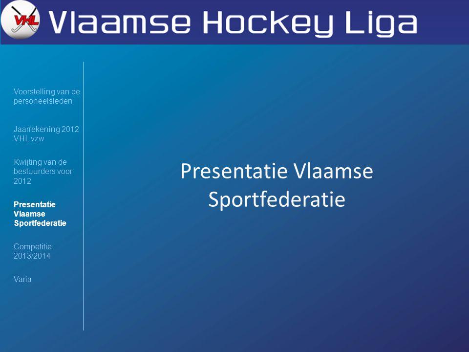 Presentatie Vlaamse Sportfederatie Voorstelling van de personeelsleden Jaarrekening 2012 VHL vzw Kwijting van de bestuurders voor 2012 Presentatie Vla