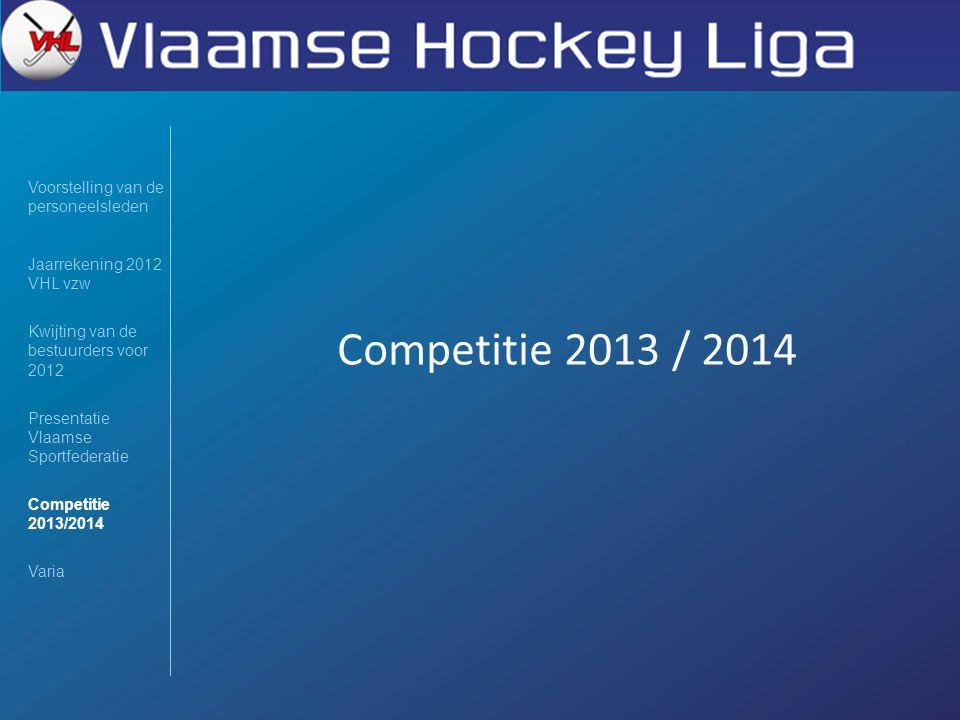 Competitie 2013 / 2014 Voorstelling van de personeelsleden Jaarrekening 2012 VHL vzw Kwijting van de bestuurders voor 2012 Presentatie Vlaamse Sportfe