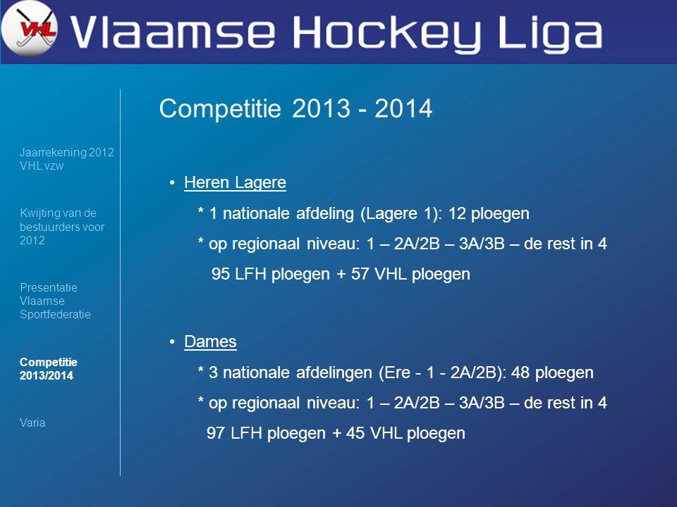 Competitie 2013 - 2014 Jaarrekening 2012 VHL vzw Kwijting van de bestuurders voor 2012 Presentatie Vlaamse Sportfederatie Competitie 2013/2014 Varia Heren Lagere * 1 nationale afdeling (Lagere 1): 12 ploegen * op regionaal niveau: 1 – 2A/2B – 3A/3B – de rest in 4 95 LFH ploegen + 57 VHL ploegen Dames * 3 nationale afdelingen (Ere - 1 - 2A/2B): 48 ploegen * op regionaal niveau: 1 – 2A/2B – 3A/3B – de rest in 4 97 LFH ploegen + 45 VHL ploegen