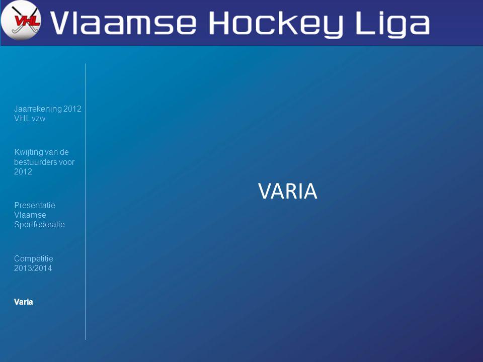 Jaarrekening 2012 VHL vzw Kwijting van de bestuurders voor 2012 Presentatie Vlaamse Sportfederatie Competitie 2013/2014 Varia VARIA