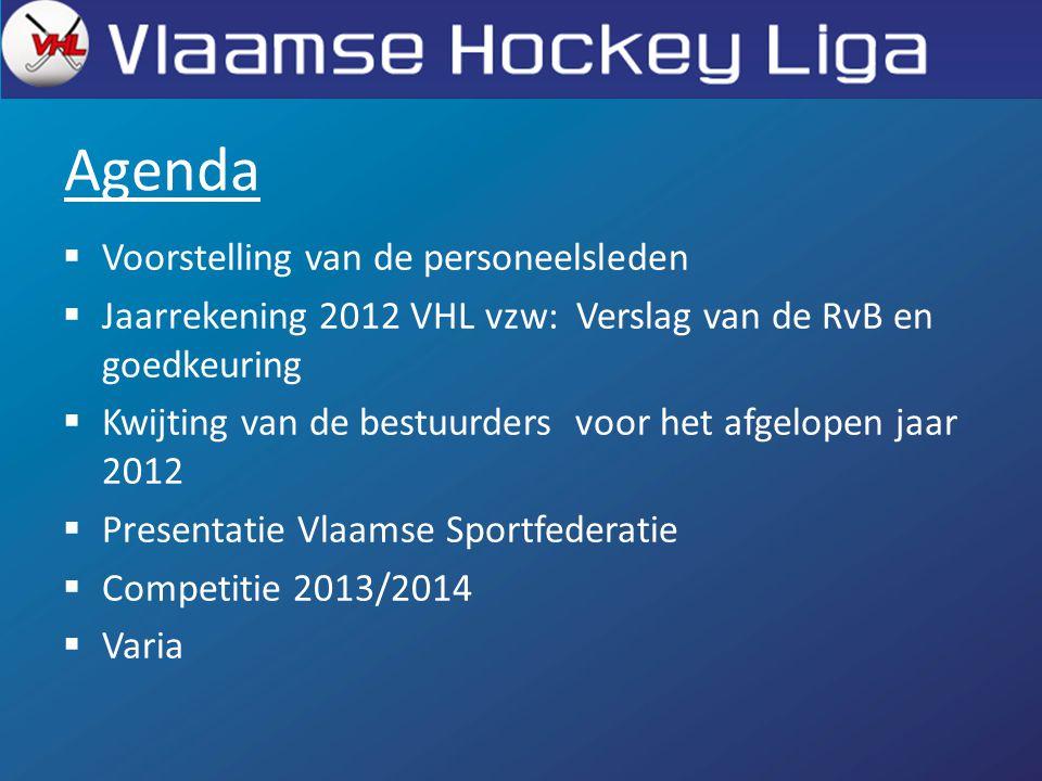 Agenda  Voorstelling van de personeelsleden  Jaarrekening 2012 VHL vzw: Verslag van de RvB en goedkeuring  Kwijting van de bestuurders voor het afgelopen jaar 2012  Presentatie Vlaamse Sportfederatie  Competitie 2013/2014  Varia