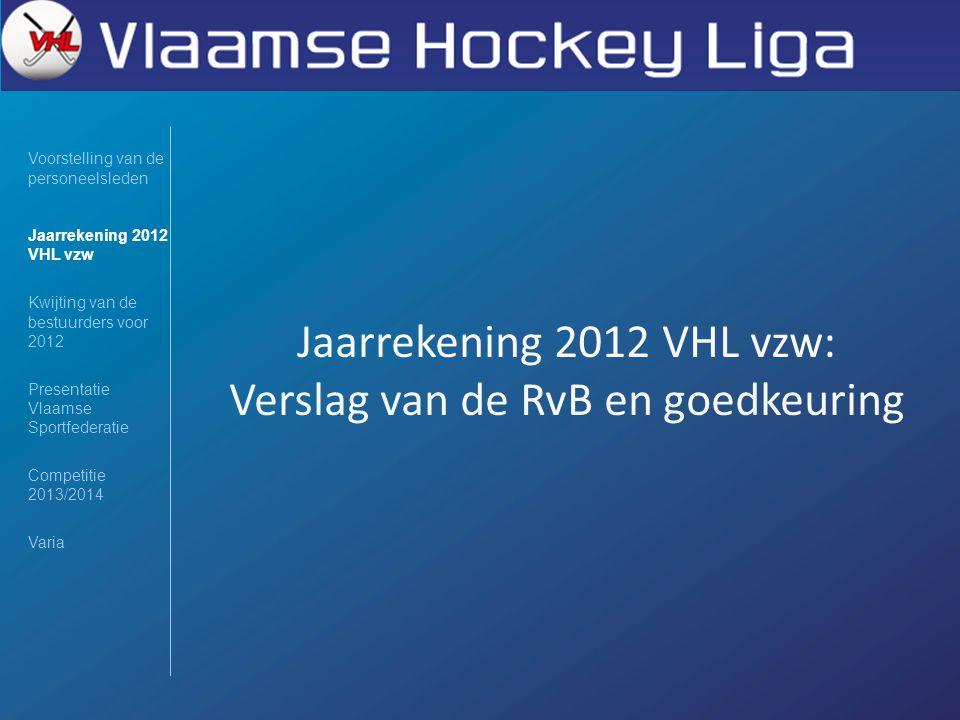 Jaarrekening 2012 VHL vzw: Verslag van de RvB en goedkeuring Voorstelling van de personeelsleden Jaarrekening 2012 VHL vzw Kwijting van de bestuurders voor 2012 Presentatie Vlaamse Sportfederatie Competitie 2013/2014 Varia