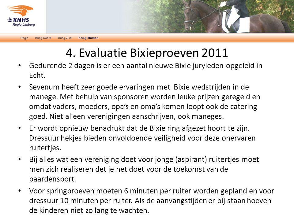 4. Evaluatie Bixieproeven 2011 Gedurende 2 dagen is er een aantal nieuwe Bixie juryleden opgeleid in Echt. Sevenum heeft zeer goede ervaringen met Bix