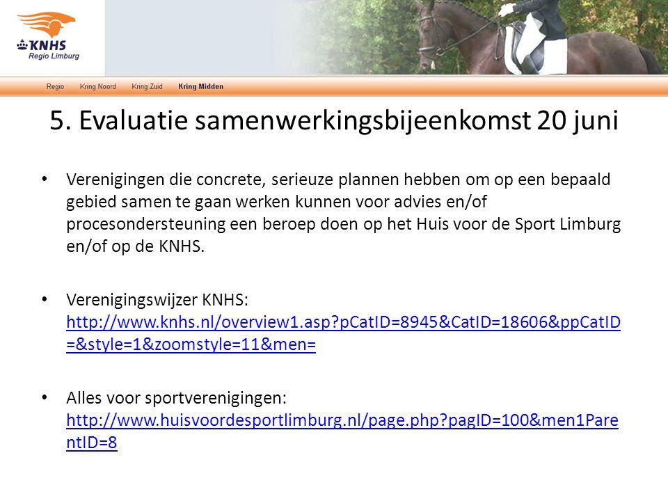 Verenigingen die concrete, serieuze plannen hebben om op een bepaald gebied samen te gaan werken kunnen voor advies en/of procesondersteuning een beroep doen op het Huis voor de Sport Limburg en/of op de KNHS.