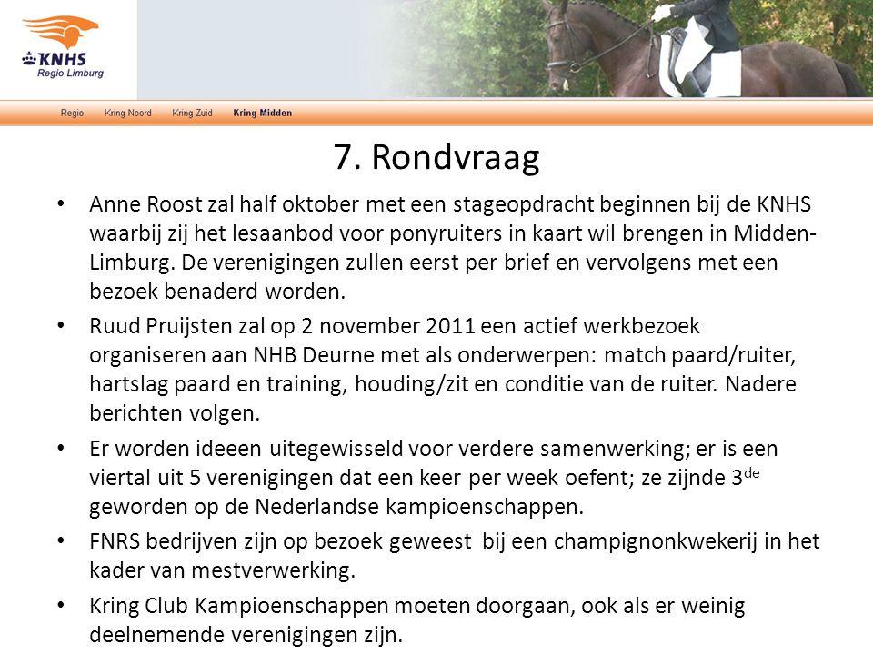 7. Rondvraag Anne Roost zal half oktober met een stageopdracht beginnen bij de KNHS waarbij zij het lesaanbod voor ponyruiters in kaart wil brengen in