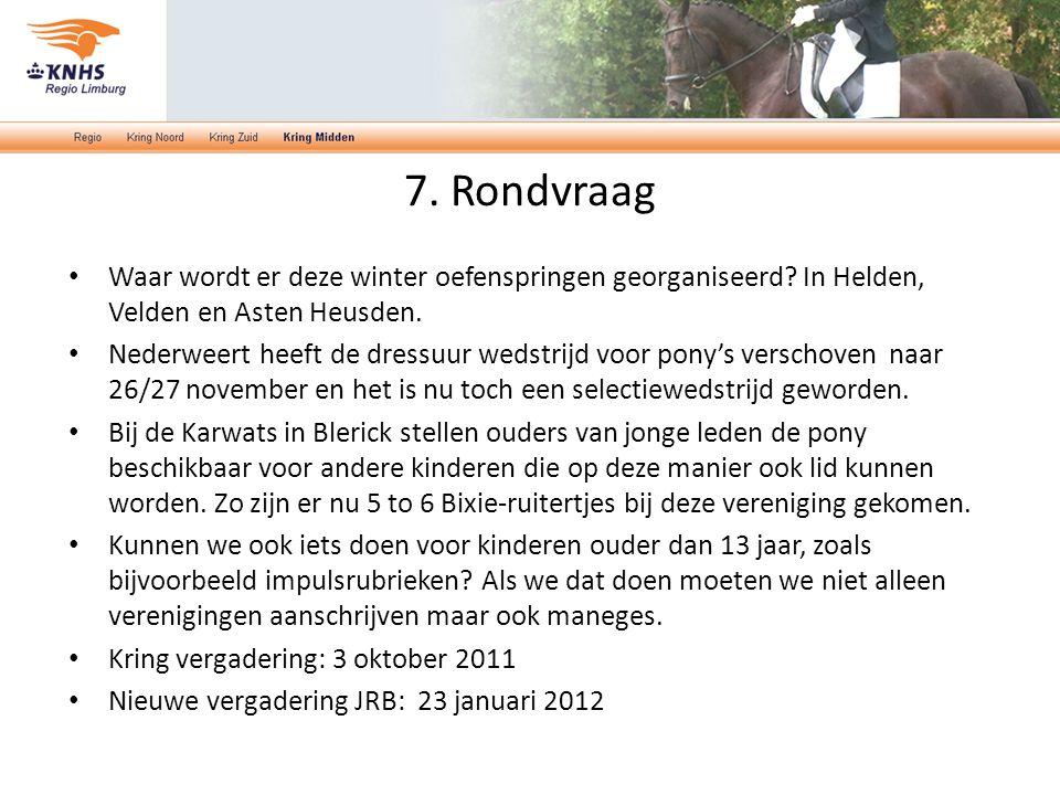 7. Rondvraag Waar wordt er deze winter oefenspringen georganiseerd? In Helden, Velden en Asten Heusden. Nederweert heeft de dressuur wedstrijd voor po
