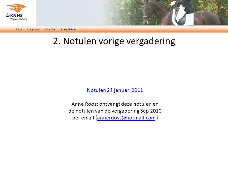 2. Notulen vorige vergadering Notulen 24 januari 2011 Anne Roost ontvangt deze notulen en de notulen van de vergadering Sep 2010 per email (anneroost@