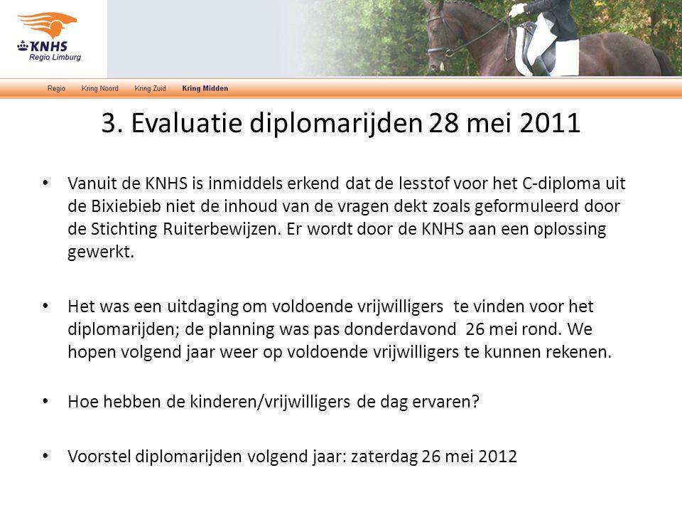 3. Evaluatie diplomarijden 28 mei 2011 Vanuit de KNHS is inmiddels erkend dat de lesstof voor het C-diploma uit de Bixiebieb niet de inhoud van de vra