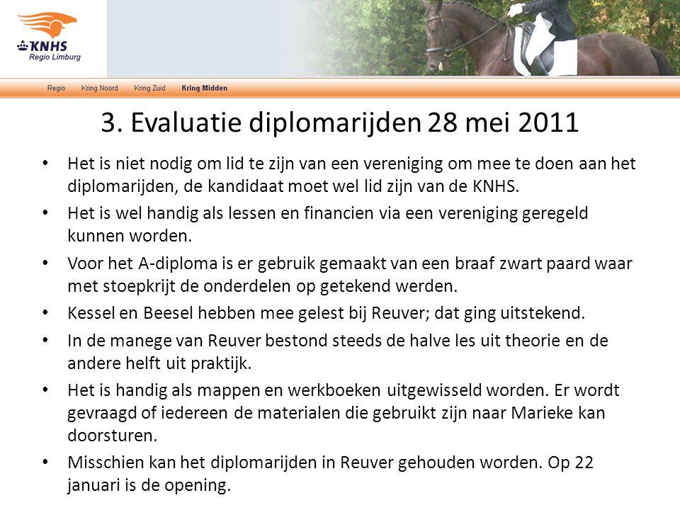 3. Evaluatie diplomarijden 28 mei 2011 Het is niet nodig om lid te zijn van een vereniging om mee te doen aan het diplomarijden, de kandidaat moet wel