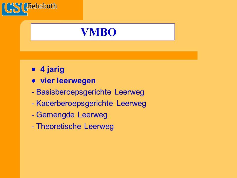 4 jarig vier leerwegen - Basisberoepsgerichte Leerweg - Kaderberoepsgerichte Leerweg - Gemengde Leerweg - Theoretische Leerweg VMBO